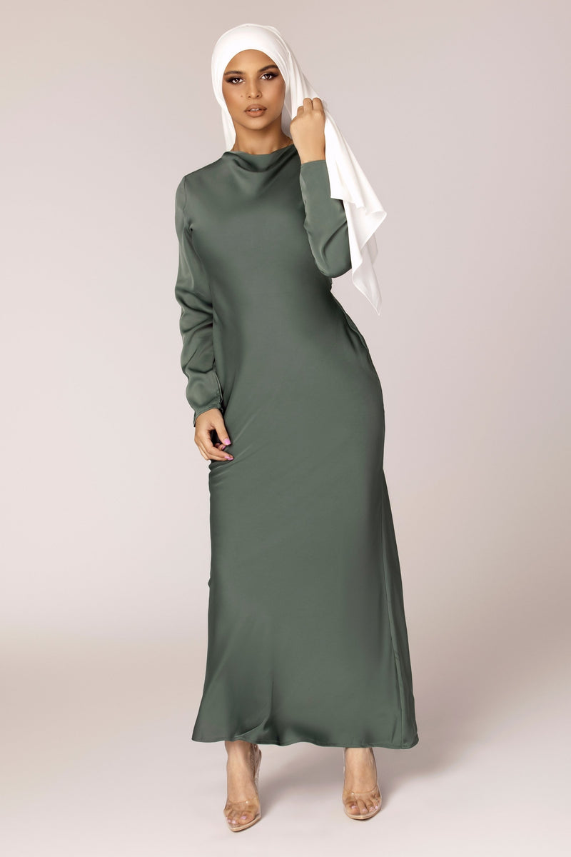 Aysha Sage Satin Maxi Dress