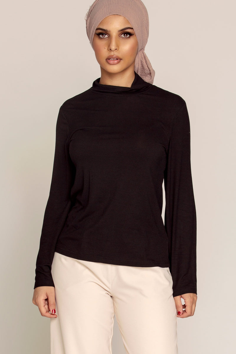 Basic High Neck Ribbed Top - Black