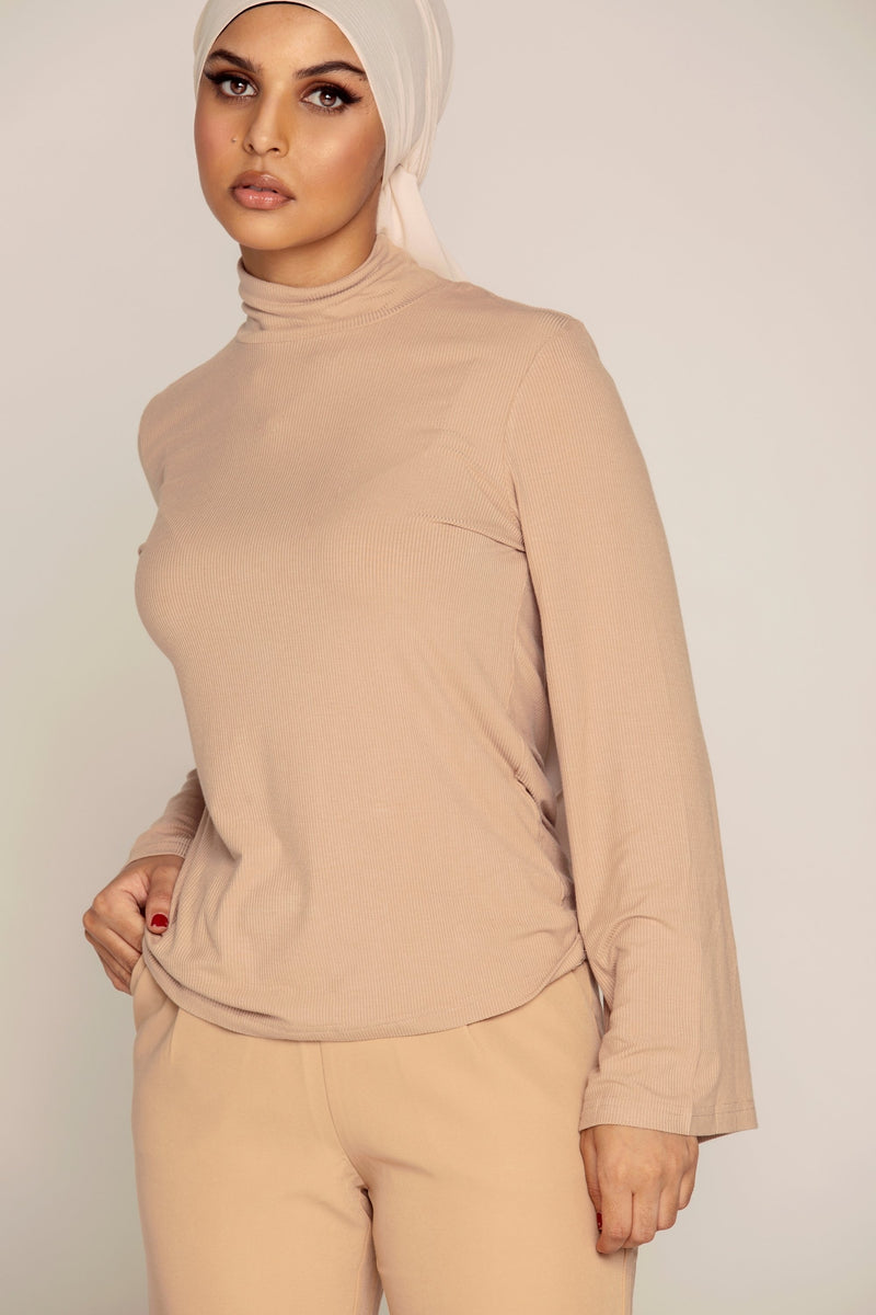 Basic High Neck Ribbed Top - Nude