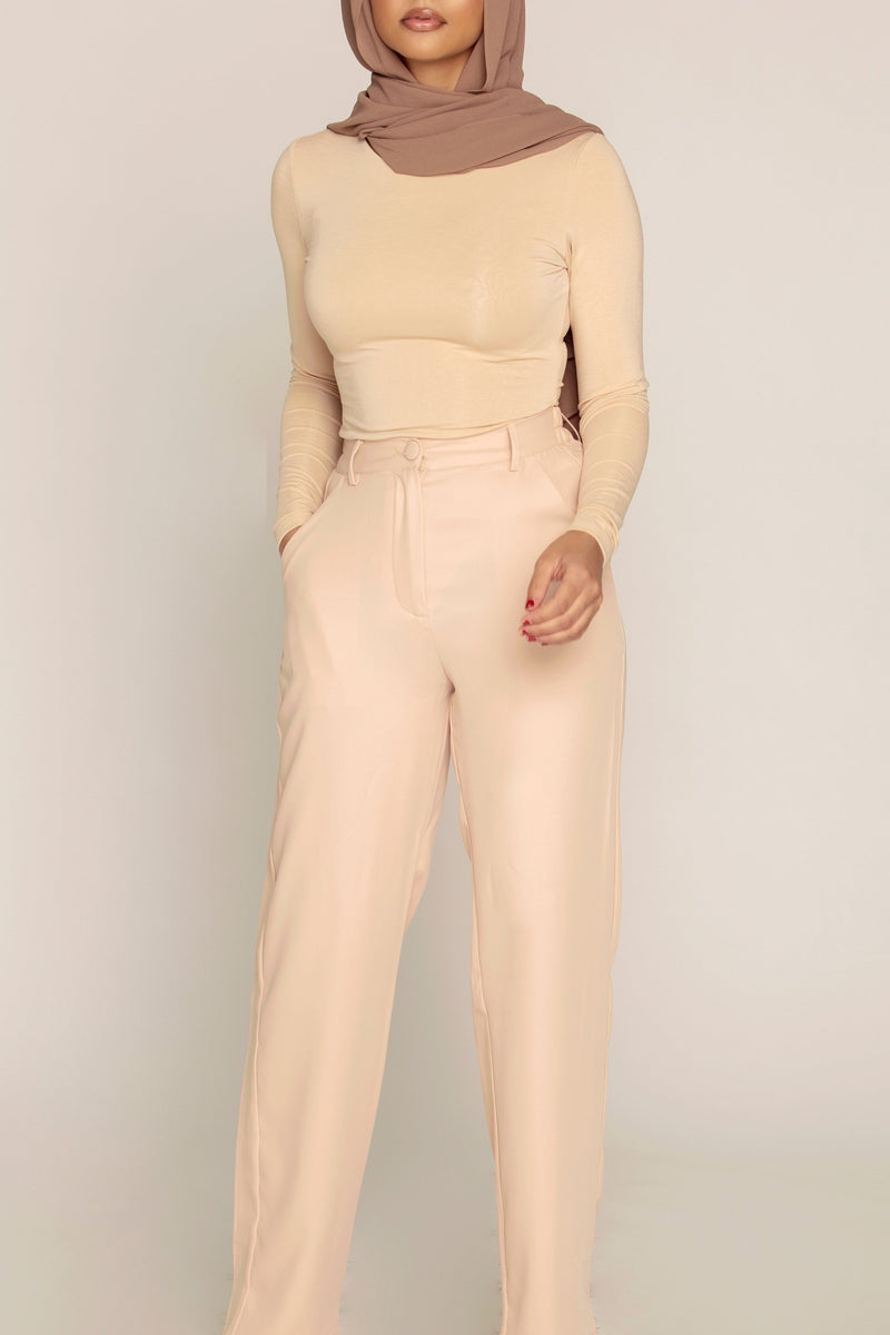 Basic Long Sleeve Bodysuit - Sand