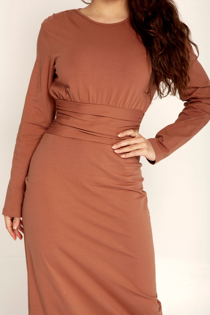 Blake Ruched Waist Maxi Dress - Caramel