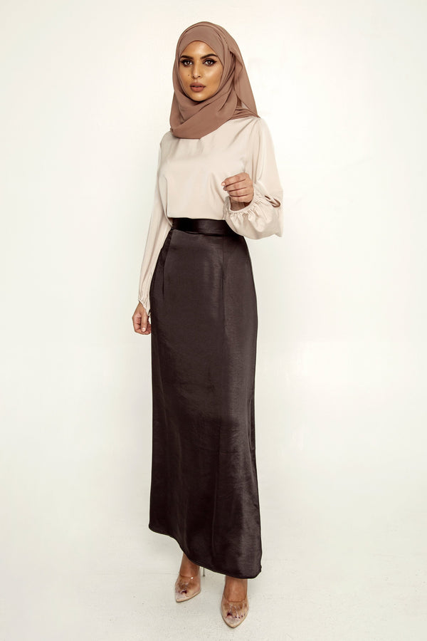Brianna Satin Maxi Skirt - Black