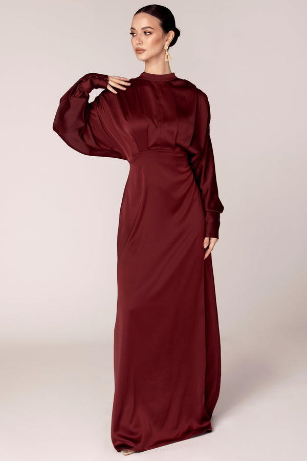 Burgundy Batwing Satin Maxi Dress