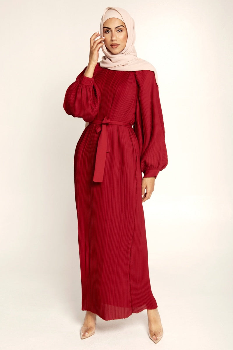 Burgundy Pleated Balloon Sleeve Maxi Dress