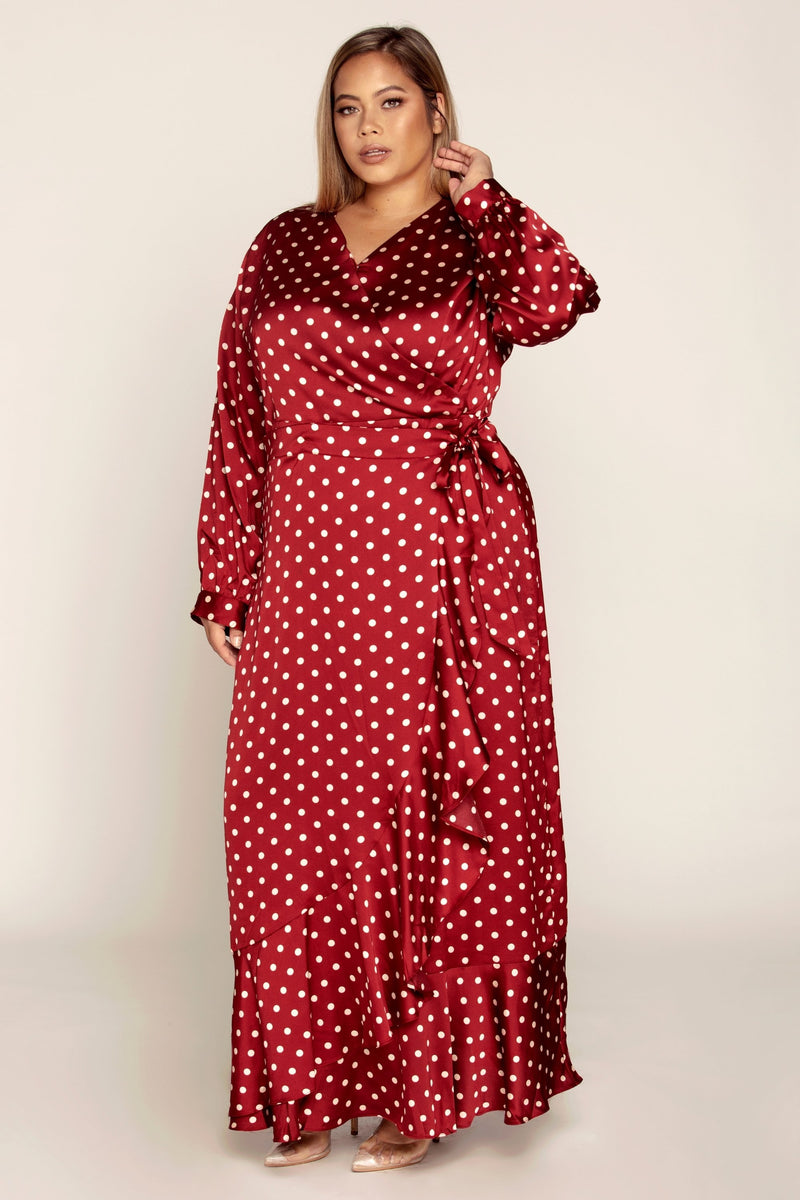 Burgundy Polka Dot Satin Wrap Maxi Dress