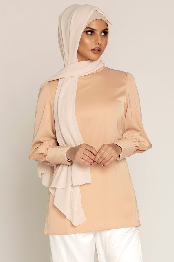 Camel Satin Cuffed Sleeve Top