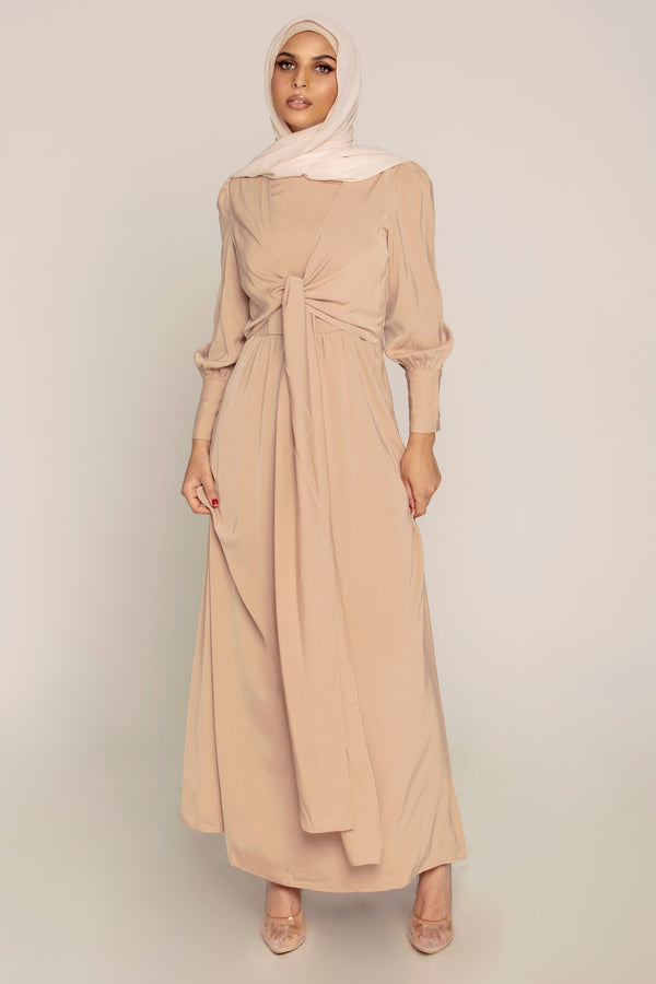Camel Tie Front Maxi Dress