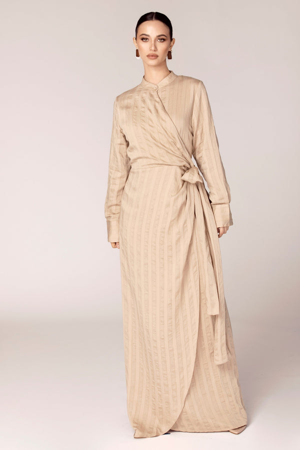 Camel Wrap Waist Maxi Dress