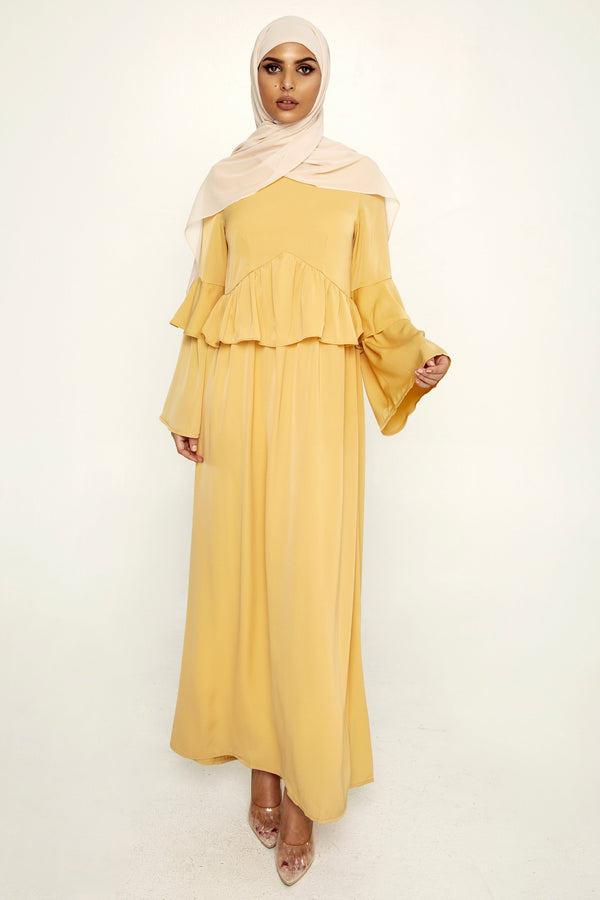 Canary Yellow Ruffle Maxi Dress