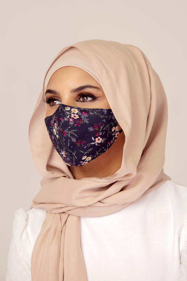Cotton Face Mask - Dark Floral