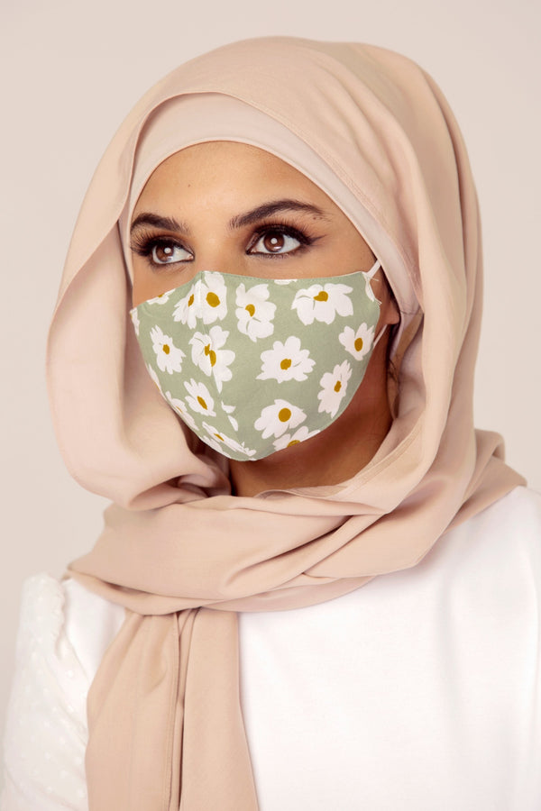 Cotton Face Mask - Sage Floral