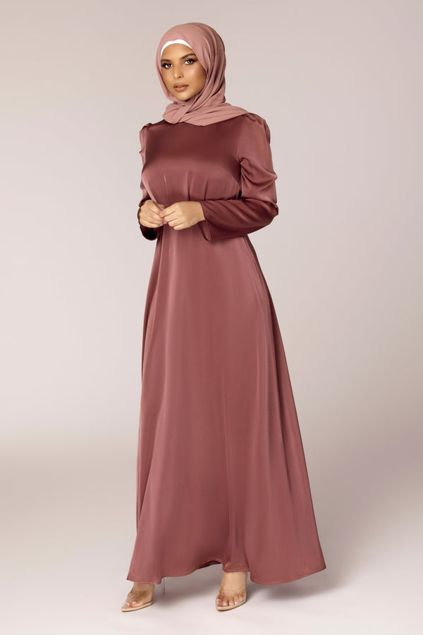Daniella A Line Satin Maxi Dress