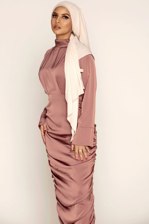 Deep Mauve Rouched Satin Maxi Dress