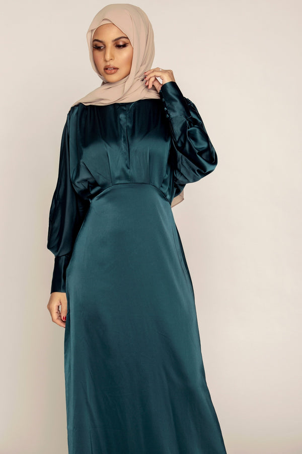Deep Teal Batwing Satin Maxi Dress
