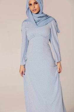 Dusty Blue Polka Dot Maxi Dress