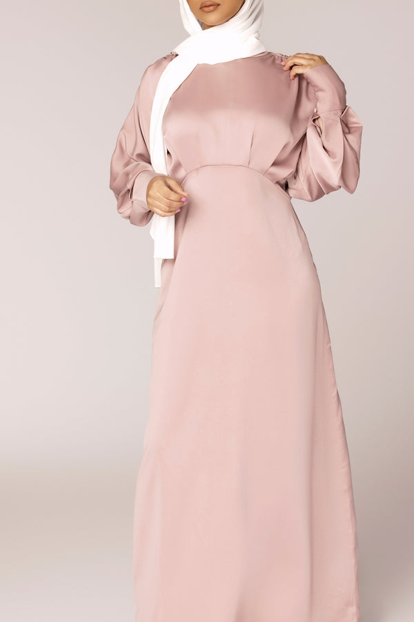 Dusty Pink Batwing Satin Maxi Dress