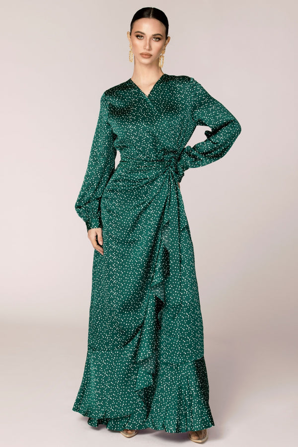Emerald Polka Dot Satin Wrap Maxi Dress