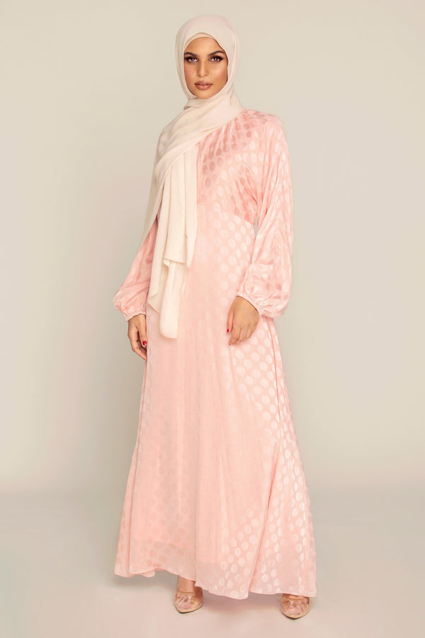 Dusty Pink Satin Dot Maxi Dress