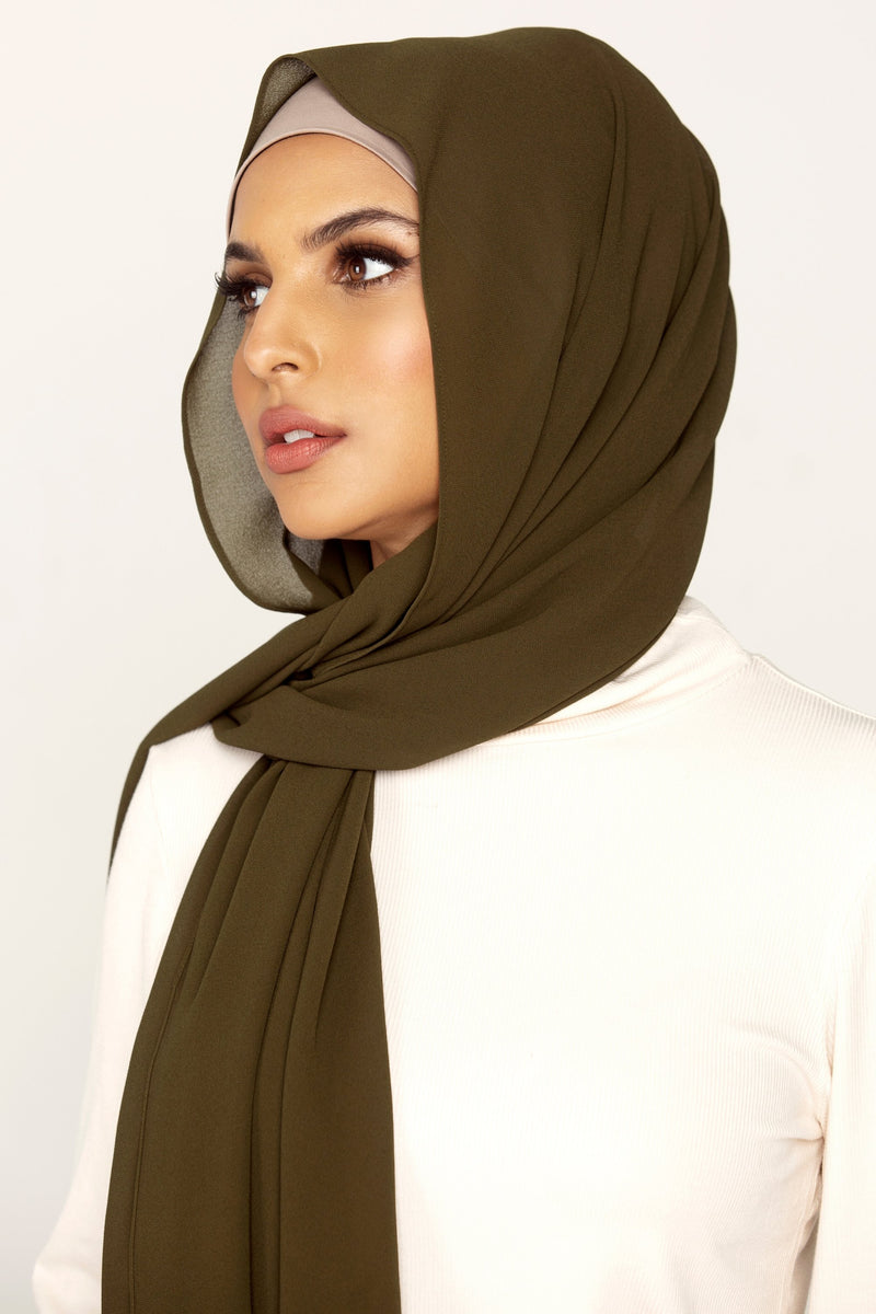 Essential Chiffon Hijab - Army Green