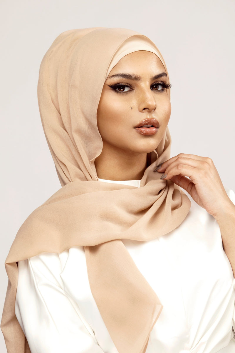 Essential Woven Hijab - Warm Taupe