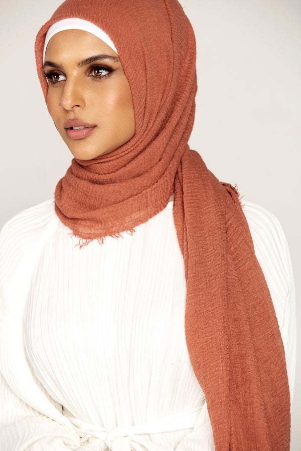 Everyday Crinkle Hijab - Burnt Ochre
