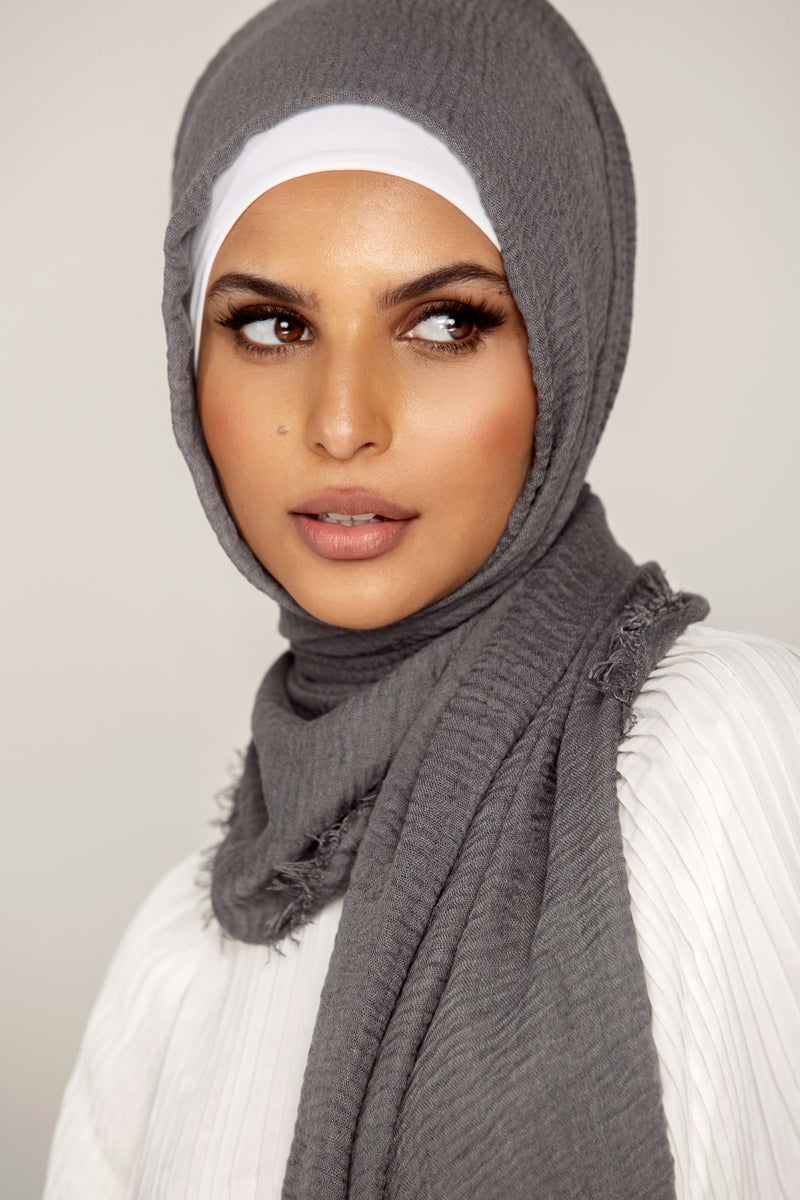 Everyday Crinkle Hijab - Charcoal