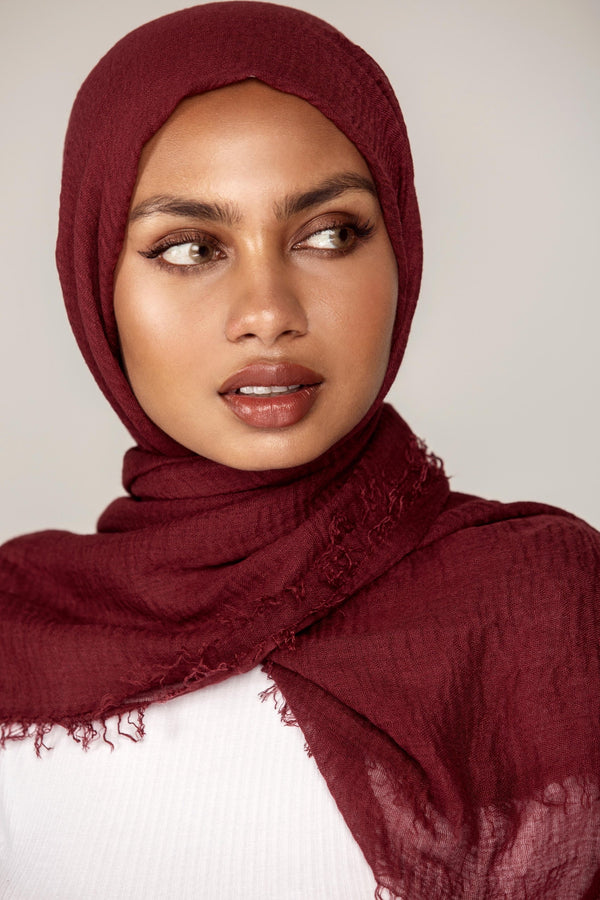 Everyday Crinkle Hijab - Red Currant