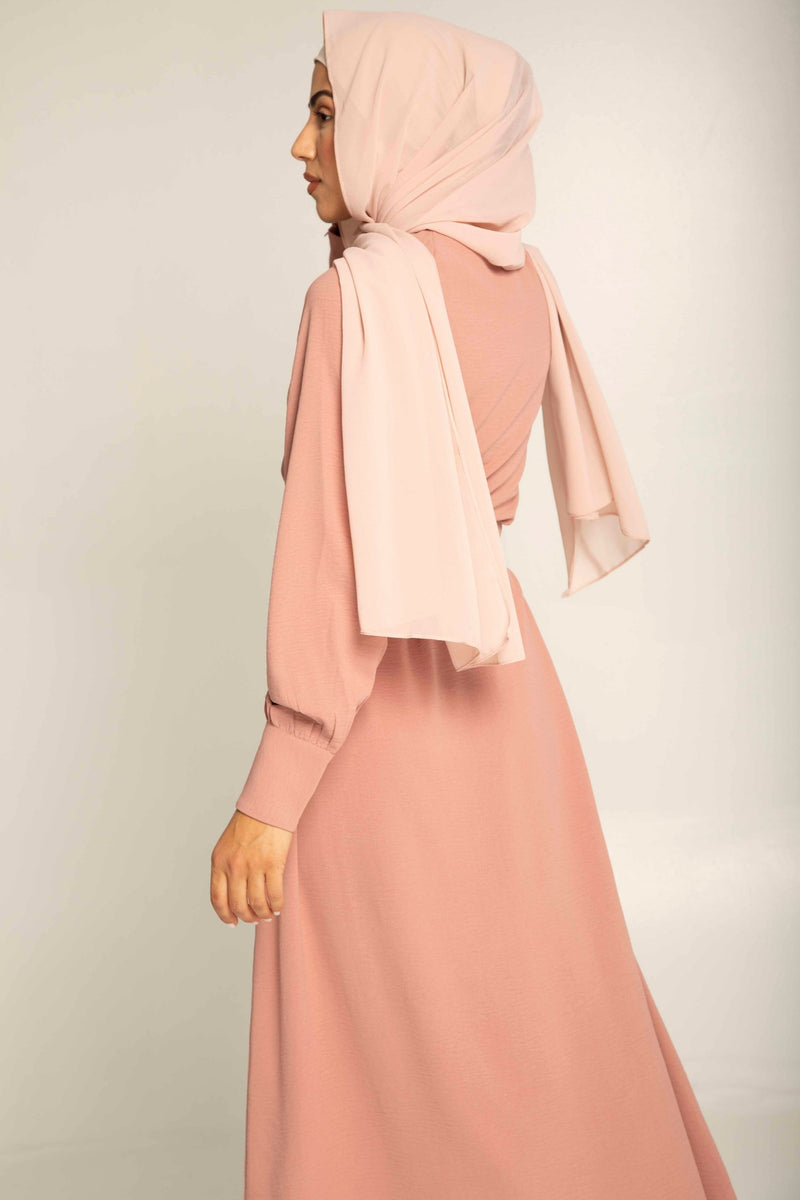 Fatima Dusty Rose Button Up Maxi Dress