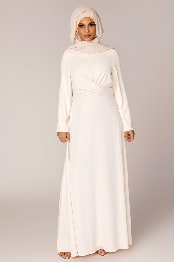 Ivory Cross Wrap Front Maxi Dress
