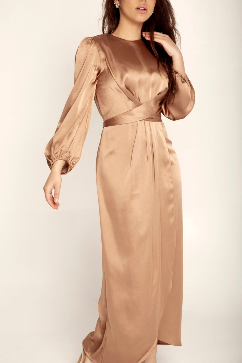 Julianna Satin Wrap Waist Maxi Dress - Caramel