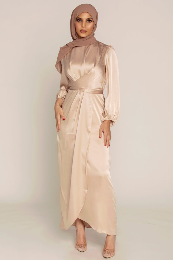 Julianna Satin Wrap Waist Maxi Dress - Taupe