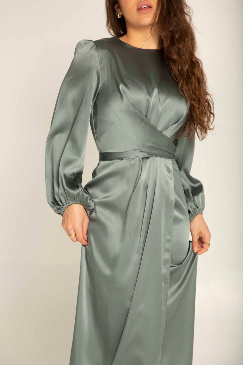 Julianna Satin Wrap Waist Maxi Dress - Teal