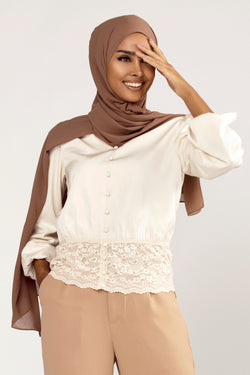 Lace Button Front Top