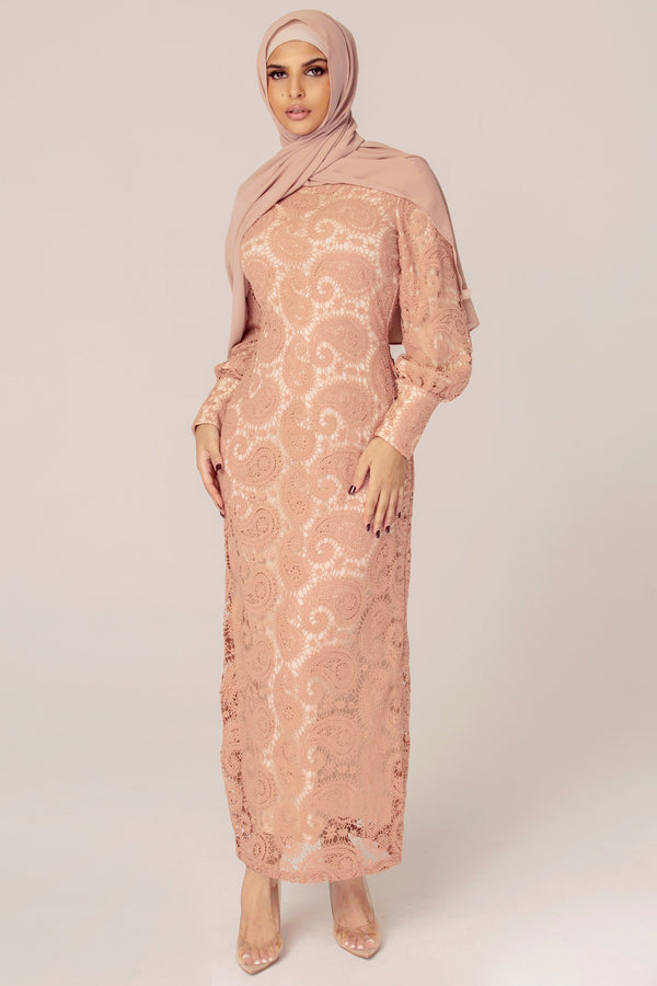 Lace Cuffed Sleeve Maxi Dress