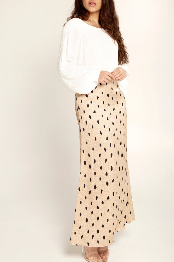 Leopard Satin Maxi Skirt
