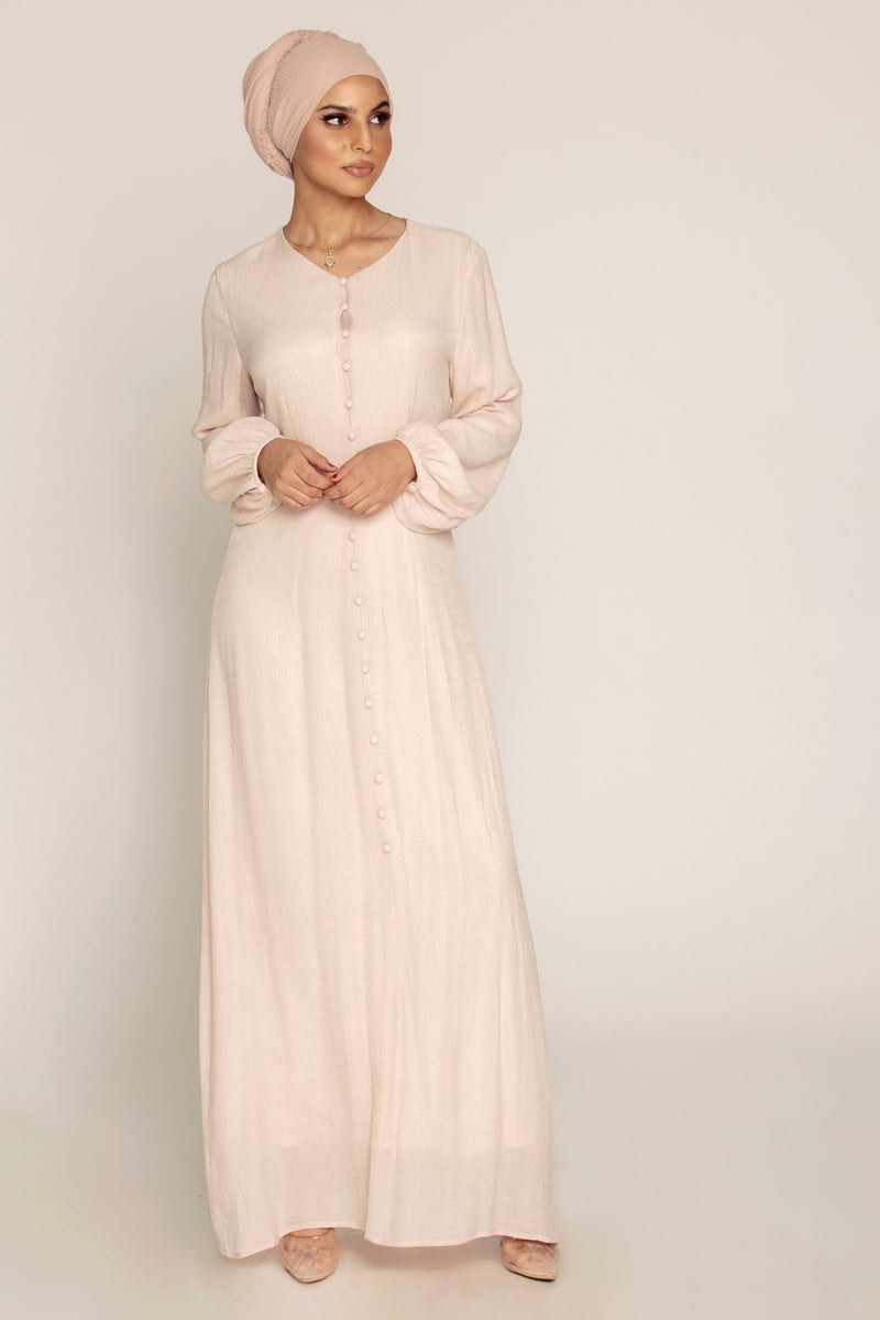 Light Mink Button Front Maxi Dress