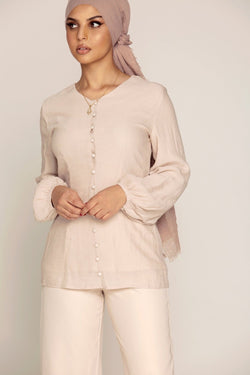 Light Mink Button Front Top