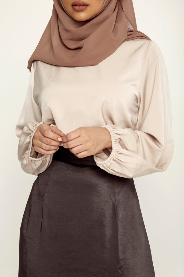 Lora Satin Balloon Sleeve Top