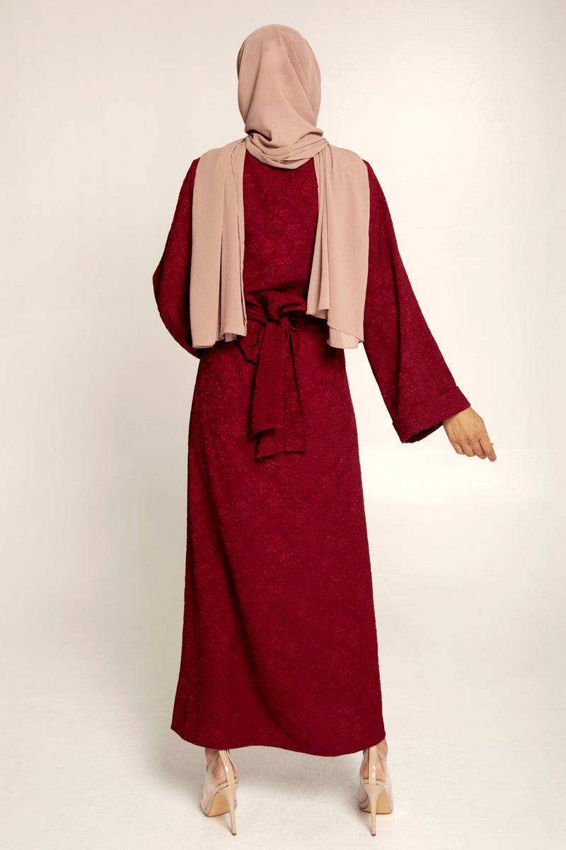 Luna Burgundy Textured Tie Waist Maxi Dress