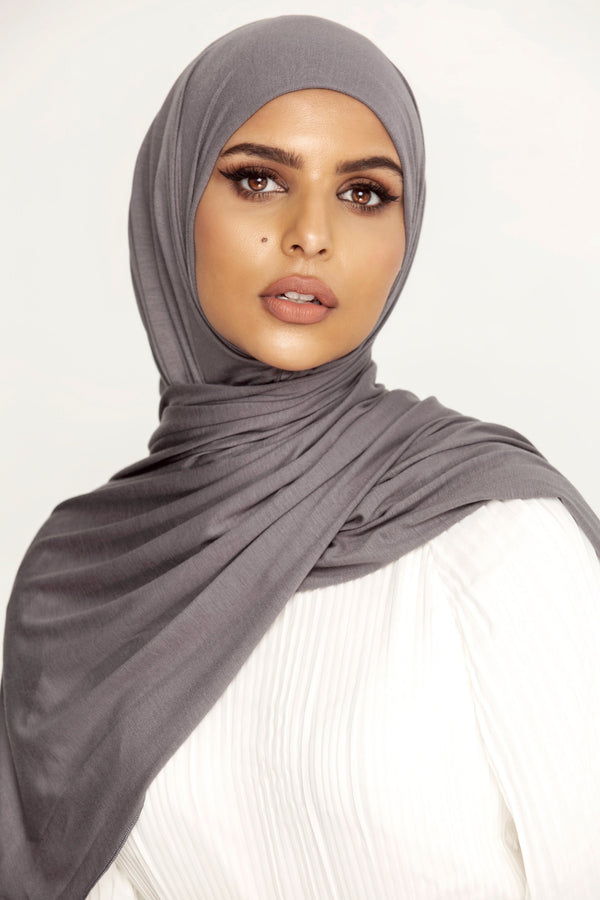 Luxury Jersey Hijab - Graphite