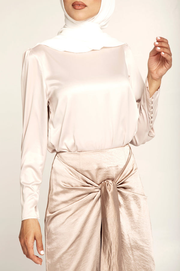 Mink Satin Cuffed Top