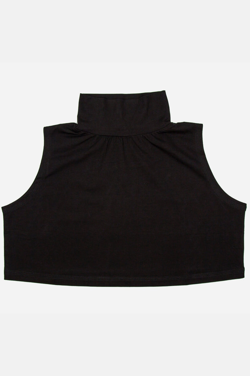Neck & Chest Cover Crop Top - Black