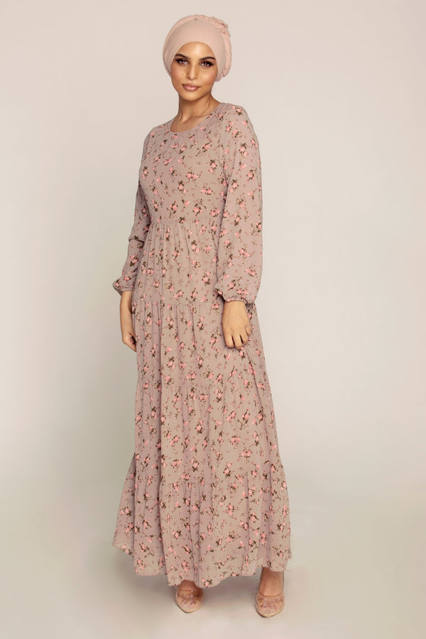 Nude Mauve Floral Maxi Dress