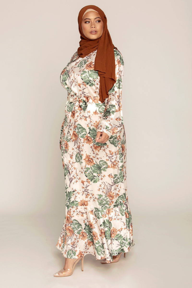 Palm Satin Maxi Dress