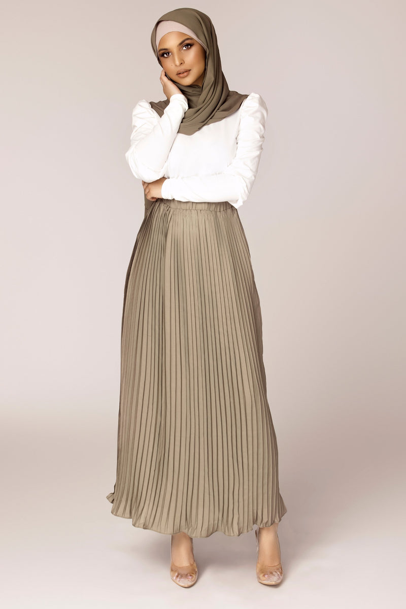 Pleated Chiffon Maxi Skirt - Muted Sage