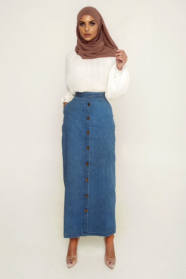 Premium Denim Button Front Maxi Skirt