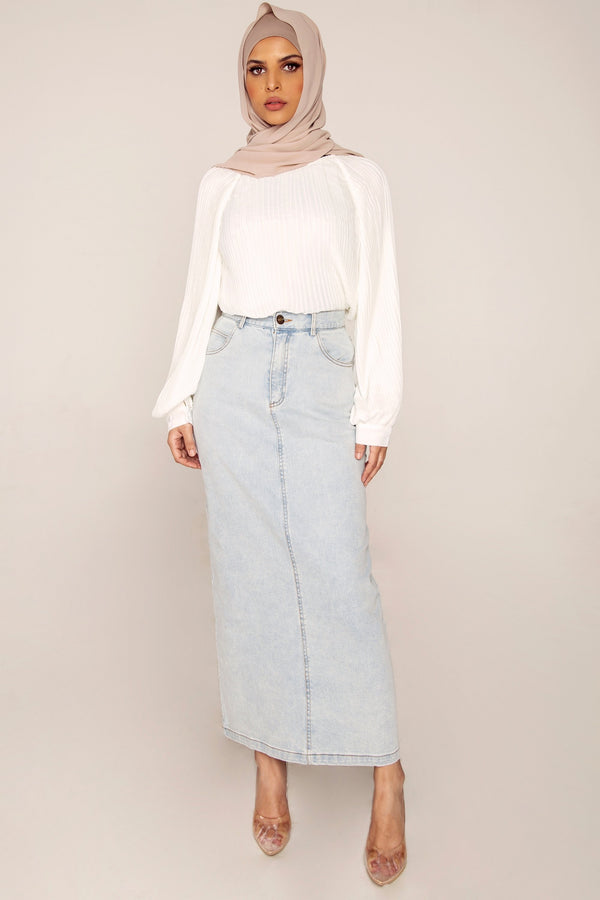 Premium Light Denim Maxi Skirt
