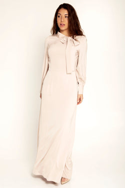 Rania Satin Mock Neck Gown