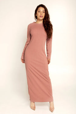 Ribbed Maxi Dress - Dusty Mauve