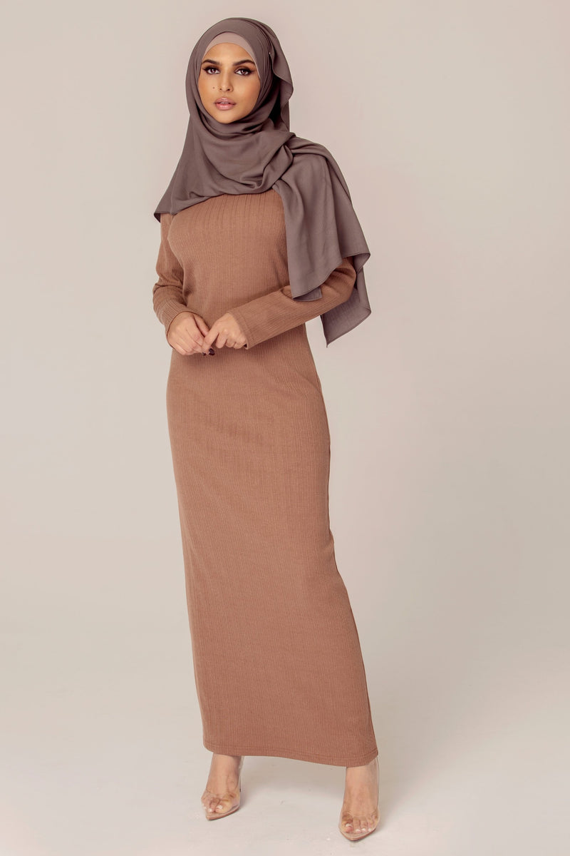 Ribbed Maxi Dress - Latte